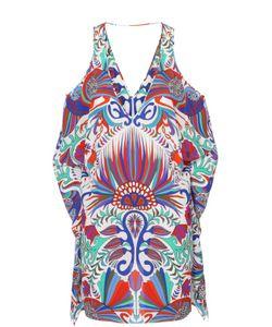 Lazul | Шелковое Мини-Платье Асимметричного Кроя С Контрастным Принтом
