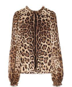 Dolce & Gabbana | Шелковая Блуза С Широкими Рукавами И Леопардовым Принтом