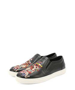Dolce & Gabbana | Кожаные Слипоны London С Аппликацией