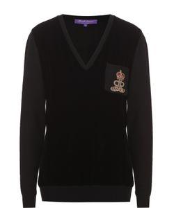 Ralph Lauren | Кашемировый Пуловер С Бархатной Вставкой И V-Образным Вырезом