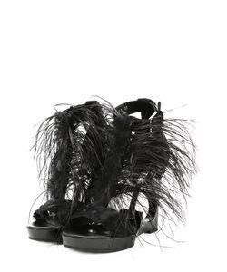 Alexander McQueen | Босоножки С Отделкой Пером На Фигурной Танкетке