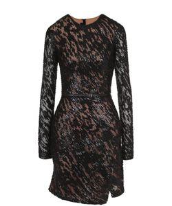 Elie Saab | Приталенное Мини-Платье С Длинным Рукавом И Разрезом
