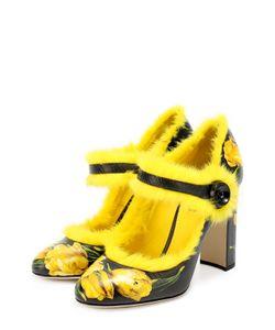 Dolce & Gabbana | Кожаные Туфли Vally С Принтом И Меховой Отделкой