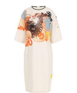 Dries Van Noten | Льняное Приталенное Платье С Принтом