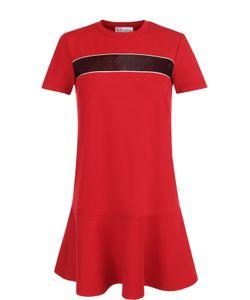Red Valentino   Платье-Миди Прямого Кроя С Кружевной Вставкой