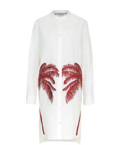Stella Mccartney | Платье-Рубашка С Контрастной Вышивкой В Виде Пальм