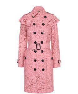 Burberry | Кружевное Двубортное Пальто С Оборкой
