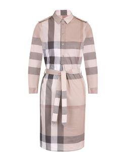 Burberry | Платье-Рубашка В Клетку С Поясом И Погонами