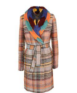 Missoni | Буклированное Пальто С Поясом И Отделкой Из Меха Норки