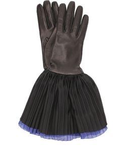 Giorgio Armani | Кожаные Перчатки С Шелковой Плиссированной Отделкой