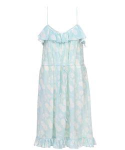 Athena Procopiou | Шелковое Приталенное Платье-Миди С Оборками И Цветочным Принтом
