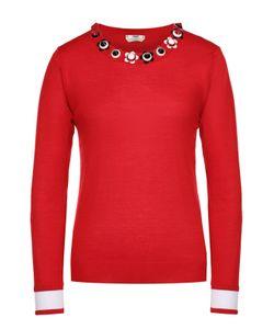 Fendi | Кашемировый Пуловер С Декоративной Отделкой Выреза