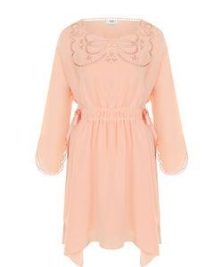 Fendi | Шелковое Приталенное Платье С Декоративной Отделкой