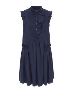 Moncler   Хлопковое Платье Свободного Кроя С Оборками