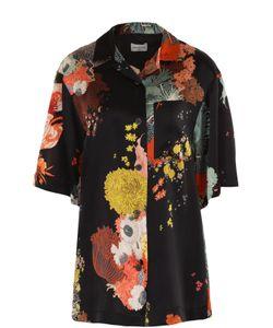 Dries Van Noten | Шелковая Блуза Прямого Кроя С Контрастным Принтом