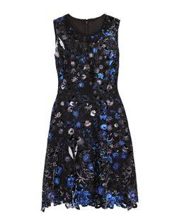 Elie Tahari | Приталенное Мини-Платье С Контрастной Цветочной Отделкой