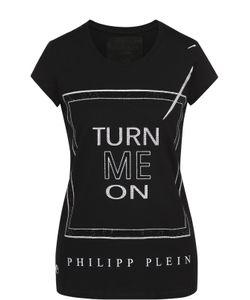 Philipp Plein | Хлопковая Футболка Прямого Кроя С Контрастной Отделкой