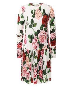 9b8d0f2fa8f257e Женское Многоцветное Платье Из Цветного Шелка С Воланами Dolce ...