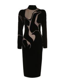 Tom Ford   Платье-Миди С Высоким Воротником И Прозрачными Вставками