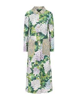 Dolce & Gabbana | Удлиненное Пальто С Цветочным Принтом