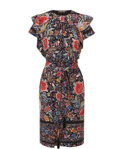 Roberto Cavalli | Шелковое Платье С Цветочным Принтом И Поясом