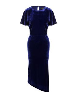 St. John | Приталенное Бархатное Платье Асимметричного Кроя