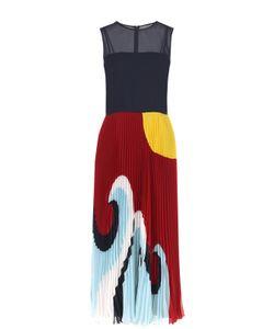 Red Valentino | Платье-Миди С Принтованной Плиссированной Юбкой Redvalentino