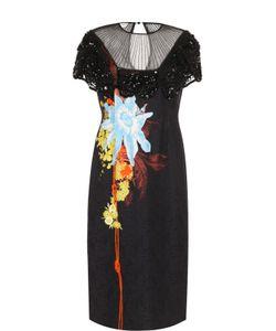 Dries Van Noten | Платье С Полупрозрачной Вставкой И Принтом
