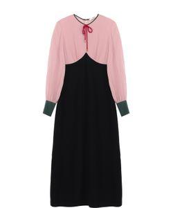Bally   Платье-Миди С Контрастным Лифом И Круглым Вырезом