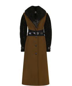 Lanvin | Приталенное Пальто С Отделкой Из Меха Нутрии