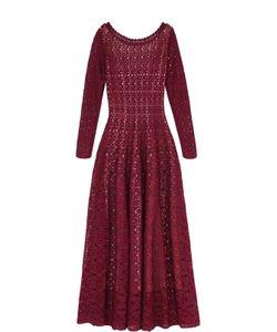 Alaïa | Приталенное Вязаное Платье-Миди С Длинным Рукавом