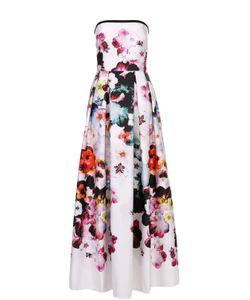 Elie Saab | Приталенное Платье-Бюстье С Цветочным Принтом