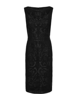St. John | Приталенное Платье-Миди Без Рукавов С Металлизированной Отделкой