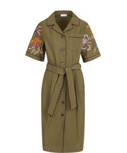 Dries Van Noten | Приталенное Платье-Рубашка С Контрастной Вышивкой