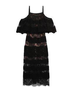 Elie Saab | Кружевное Платье-Миди С Открытыми Плечами