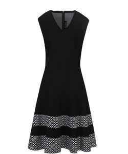 St. John | Приталенное Платье С V-Образным Вырезом И Контрастной Отделкой Подола
