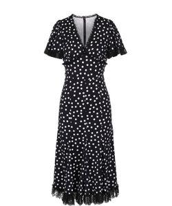 Dolce & Gabbana | Приталенное Платье В Горох С Кружевной Отделкой