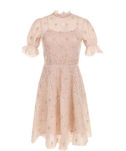 Valentino | Вязаное Платье-Миди С Цветочной Вышивкой