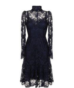 Dolce & Gabbana   Кружевное Платье-Миди С Воротником-Стойкой