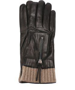 Sermoneta Gloves | Кожаные Перчатки С Вязаной Отделкой И Молниями