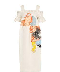 Dries Van Noten | Хлопковое Платье С Открытыми Плечами И Принтом