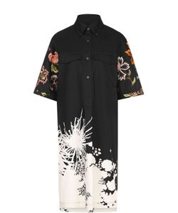 Dries Van Noten | Платье-Рубашка С Удлиненной Спинкой И Яркой Вышивкой