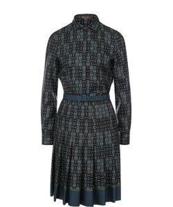 Loro Piana | Шелковое Платье-Рубашка С Принтом И Поясом