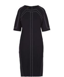 Escada | Платье-Миди С Укороченным Рукавом И Контрастной Прострочкой