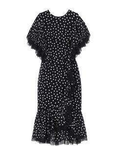 Dolce & Gabbana | Платье-Миди Асимметричного Кроя В Горох С Кружевной Отделкой