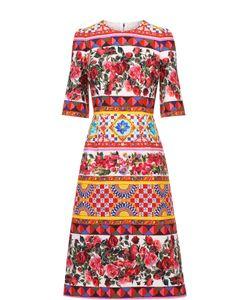 Dolce & Gabbana | Платье Миди С Ярким Принтом И Укороченным Рукавом