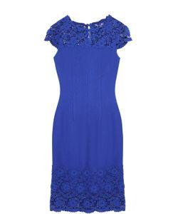 St. John | Приталенное Мини-Платье С Кружевной Отделкой