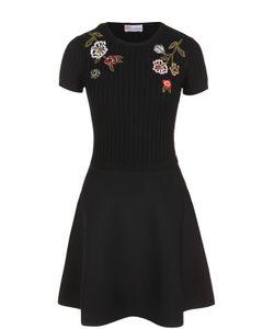 Red Valentino | Приталенное Мини-Платье С Цветочной Вышивкой