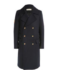 Dries Van Noten | Шерстяное Двубортное Пальто С Нашивками