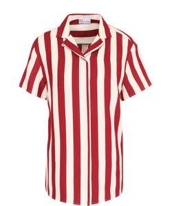 Red Valentino | Хлопковая Блуза В Полоску С Коротким Рукавом